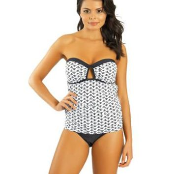 Athena - Moroccan Tile Molded Cup Bandini Top & Cutting Edge Banded Bikini Bottom