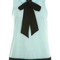 Mint Sleeveless Pussybow Top - Shirts & Blouses - Tops - Clothing - Miss Selfridge