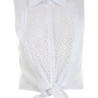 White Broderie Tie Shirt - Tops - Clothing - Miss Selfridge