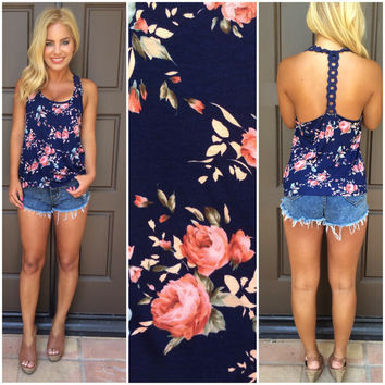 Wild Roses In Bloom T-Back Tank  ROYAL BLUE