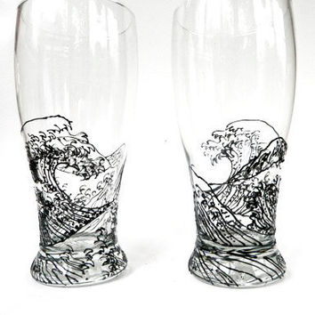 Hand Painted Pint Glass The Wave by RKArtwork on Etsy