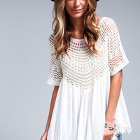 Crochet Gauze Fringe Top