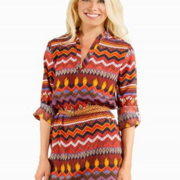 AZTEC BELTED DRESS