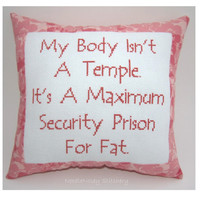Funny Cross Stitch Pillow Cross Stitch Quote Salmon by NeedleNosey
