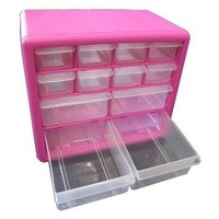 Original Pink Box 12 Drawer Bin Parts Jewelry Makeup Screw Nail Crafts Organizer