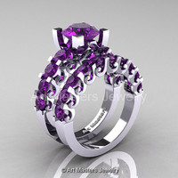 Modern Vintage 14K White Gold 3.0 Ct Amethyst Designer Wedding Ring Bridal Set R142S-14KWGAM
