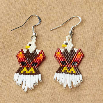 Native American Jewelry,Beaded Eagle Earrings, Brown, beaded jewelry