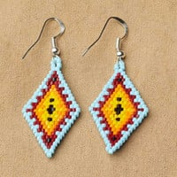Native American Earrings ,Geometric Beaded Diamond Earrings, Aqua, beaded earrings