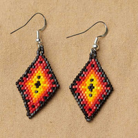 Geometric Beaded Diamond Earrings, Black, native american accessories