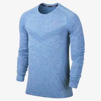 Nike Dri-FIT Knit Long-Sleeve Menx27s Running Shirt  Military