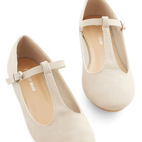 ModCloth Minimal Around-the-Clock Cute Flat in Beige