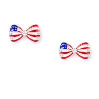 Stars and Stripes Flag Bow Stud Earrings