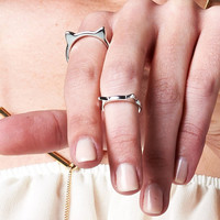 KITTY CAT EARS MIDI RING SET - SILVER