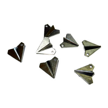 Silver Paper Airplane Charms