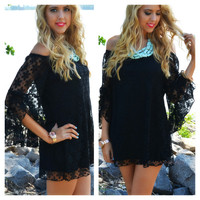 Queensland Black Lace Swing Dress