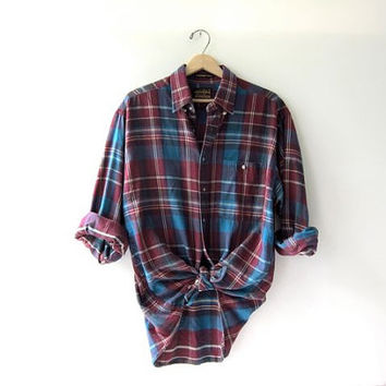Vintage purple blue boyfriend flannel  Grunge Shirt
