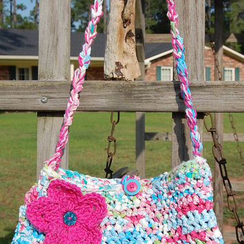 Pink Multicolor Crocheted Bag