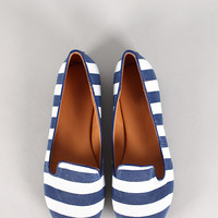 Belin-12 Striped Round Toe Loafer Flat