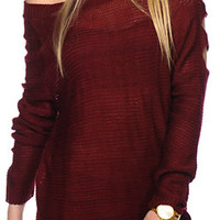 Alley & Gabby By 212NY Cold Shoulder Burgundy Sweater