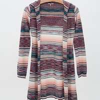 BKE Striped Hooded Cardigan Sweater