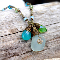 Sea Glass Jewelry from Hawaii - Beach Boho Jewelry - Bohemian Necklace - Hawaiian Seaglass Jewelry - Gypsy Necklace - Aqua Blue Sea Glass