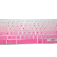 "Llamamia 3 Silicone Keyboard Covers Skins for Macbook 13"" Unibody / Macbook Pro 13"" 15"" 17"" with or without Retina Display / New Macbook Air 13"" / Mac Wireless Keyboard (New Rainbow B/Gradient Pink/Gradient Green)"