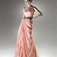 Chiffon a-line one-shoulder sweetheart pink 2011 Love by Enzoani Prom Dresses EPD0088