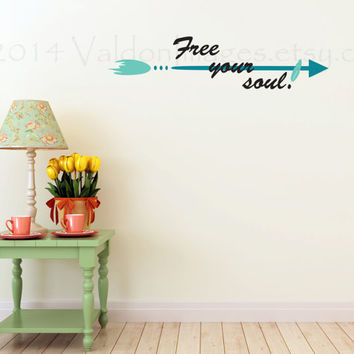Free you soul with arrow vinyl wall decal, wall sticker, decal, wall graphic, sticker, vinyl…
