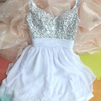 Made-to-order Short Beaded Spaghetti Prom Dress / Short Formal Dress / Short Evening Party Dress / Cocktail Dress