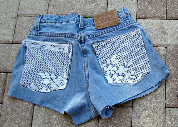 Made To Order Lace Pocket Shorts High Waisted by shortyshorts