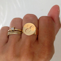 Personalized Ring, Signet Ring, women ring, Initial ring, Gift for women, Monogram Initial Ring, letter Ring , 18 karat Ring, 18k Gold plate