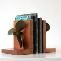 Propelled to Read - Vintage Bookends - Boat Propeller - Nautical - Summer - Brass - Wood - Home Decor - Beach - Brown - Gold - Blue