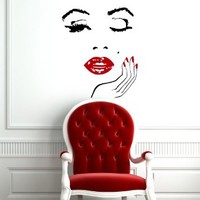 Housewares Vinyl Decal Girl Face with Hand Manicure Home Wall Art Decor Removable Stylish Sticker Mural Unique Design for Any Room