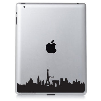 Paris iPad Decal - Velvet Skyline Decor - Eiffel Tower Laptop Decal - City Laptop Sticker - Paris Silhouette