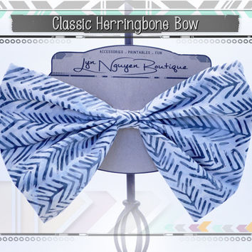 Endless Arrows Hair Bow • Classic Herringbone Hair Bow, Bow Tie, Elastic Head Band • Large