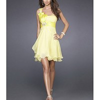 Buy Short Silk-like Chiffon One Shoulder Homecoming Dress