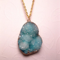 Aqua Nugget Druzy Necklace - Crystal Quartz - Raw Geode - Minerals Jewelry - Drusy