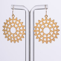 Aztec Sun Earrings, Gold