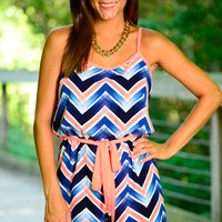 Brush Stroke Romper, Navy/Coral