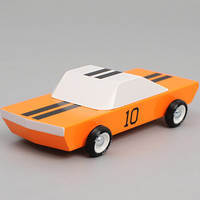 candylab toys - gt 10 wooden sports car orange white