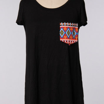 Black Aztec Pocket Tee