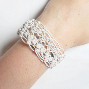 White Lacy Hemp Cuff Bracelet, ready to ship.