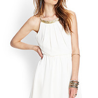 Beaded Open-Back Chiffon Dress