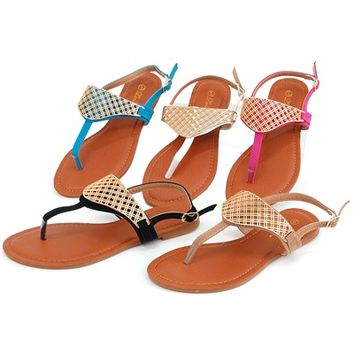 Womens Gold Sandals T Strap Thong Flats Adjustable Ankle Strap Hot Summer Shoes