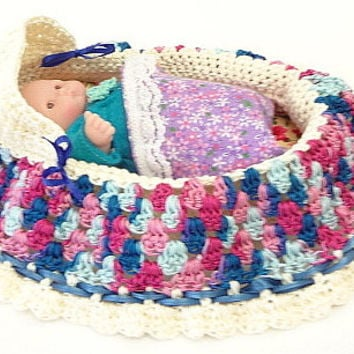 Perfect ivory blue violet purple cradle purse crochet itty bitty baby doll church purse BG65