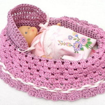 Lovely cradle purse baby doll crochet church purse BG#54