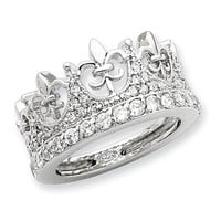Sterling Silver Fleur-de-lis Crown CZ Ring - Sterling Silver