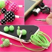Mickey Mouse Style Music Earbuds Earphones Headphones (Black with Silver Dots) for Apple iPod, iPhone, Mp3 Player