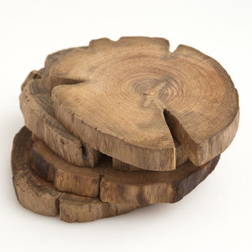 Teak Wood Coasters  Set of 4  Poketo