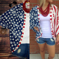 SUMMER BREEZE FLAG KIMONO – LaRue Chic Boutique